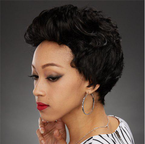 Stylish Black Side Bang Synthetic Fluffy Curly Capless Wig For Women - BLACK