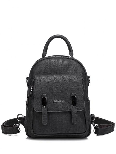 bf8bf1ab2e 2019 Faux Leather Double Zipper Pocket Backpack In BLACK