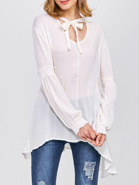 Loose Bow Tie Blouse - WHITE S