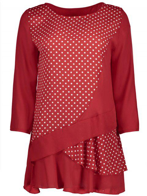 Polka Dot Chiffon Hem Blouse - DEEP RED M