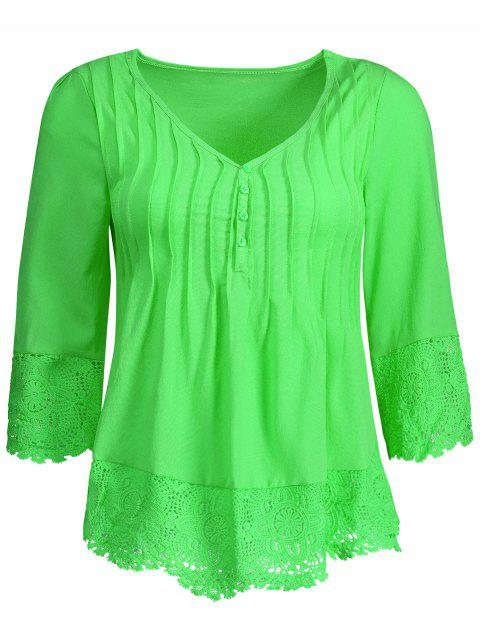 Pleated Lace Insert V Neck Chiffon Blouse - NEON GREEN L
