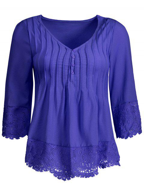 Pleated Lace Insert V Neck Chiffon Blouse - DEEP BLUE XL