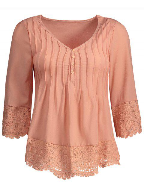 Pleated Lace Insert V Neck Chiffon Blouse - DEEP PINK XL
