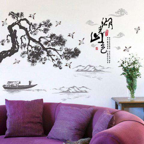 Landscape of Lakes and Hills Ink Painting PVC Removable Wall Stickers - BLACK