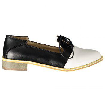 Sweet Color Block and Lace-Up Design Flat Shoes For Women - 39 39