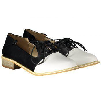 Sweet Color Block and Lace-Up Design Flat Shoes For Women - BLACK BLACK