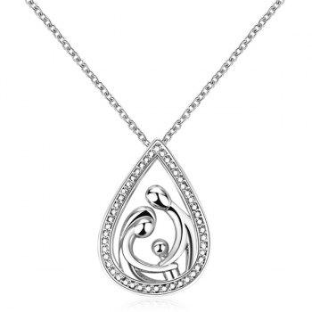 Hollowed Family Teardrop Pendant Necklace
