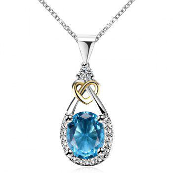 Heart Teardrop Faux Gem Pendant Necklace