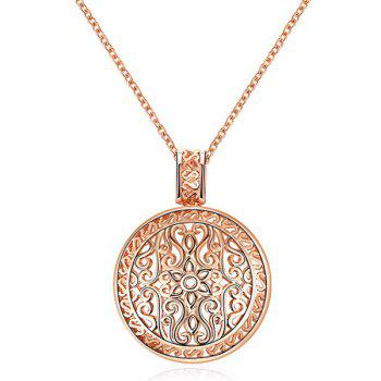 Floral Round Filigree Pendant Necklace