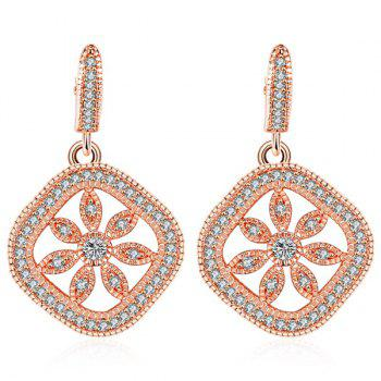 Square Rhinestone Floral Drop Earrings