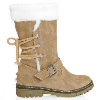 Vintage Suede and Buckle Design Snow Boots For Women - KHAKI 37
