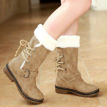Vintage Suede and Buckle Design Snow Boots For Women - 38 38