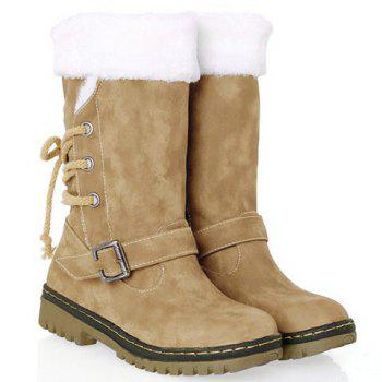 Vintage Suede and Buckle Design Snow Boots For Women - KHAKI 39