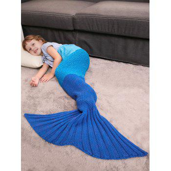 Color Block Crochet Knit Mermaid Blanket Throw For Kids -  BLUE