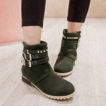 Metallic Buckle Suede Slip-On Ankle Boots - GREEN 38