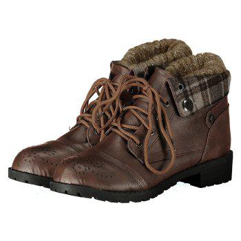 Retro Engraving and Lace-Up Design Swaeter Boots For Women - BROWN 37