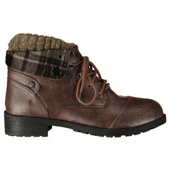 Retro Engraving and Lace-Up Design Sweater Boots For Women - BROWN 37