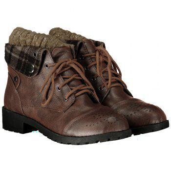 Retro Engraving and Lace-Up Design Sweater Boots For Women - BROWN 38