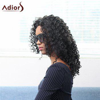 Bouffant Medium Afro Curly Capless Stunning Black Synthetic Women's Adiors Wig