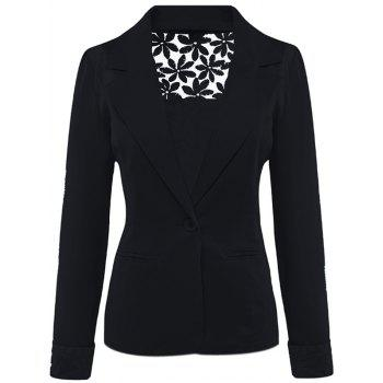 Lace Insert Lapel Blazer With Pocket