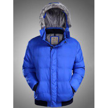 Rib Panel Furry Hood Zip Up Padded Jacket