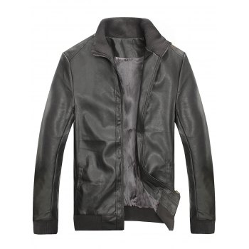 Rib Stand Collar Zip Up Faux Leather Jacket