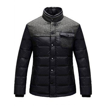 Wool Blends Panel Stand Collar Pocket Padded Jacket