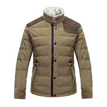 Corduroy Panel Stand Collar Zip Up Padded Jacket