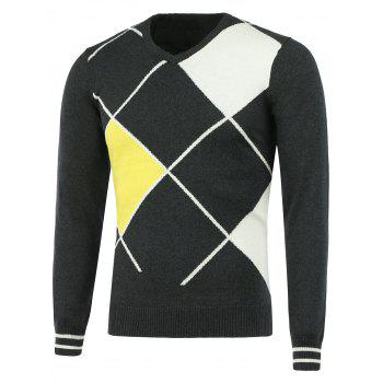 Geometric Graphic V Neck Sweater