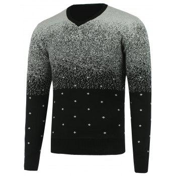 Ombra V Neck Diamond Graphic Sweater