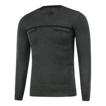 Knitted V Neck Pocket Sweater