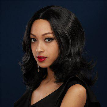 Towheaded Wavy Layered Fashion Black Mixed Centre Parting Women's Synthetic Wig