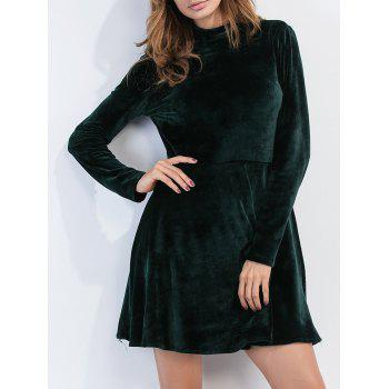 Open Back Velvet Long Sleeve Dress