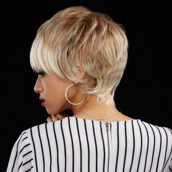 Fluffy Straight Mixed Color Fashion Short Boy Cut Capless Human Hair Wig For Women - COLORMIX