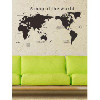 World Map Removable Decorative Wall Stickers - BLACK