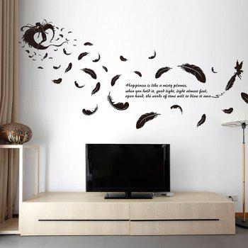 Feather Removable Glass Window DIY Wall Stickers - BLACK