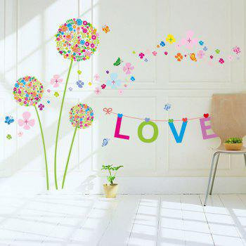 DIY Dandelion Letter Removable Wall Stickers - COLORFUL