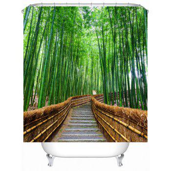 Bamboo Landscape Shower Curtain with Hooks