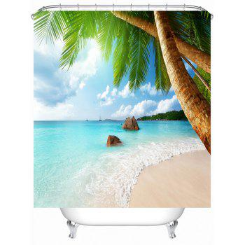 sea beach bathroom shower curtain with hooks