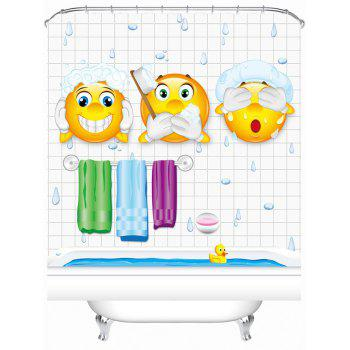 Cartoon Pattern Bathroom Shower Curtain with Hooks