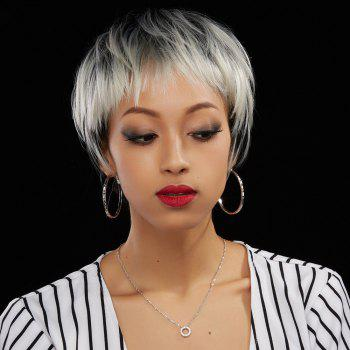 Short Neat Bang Straight Ombre Color Human Hair Wig