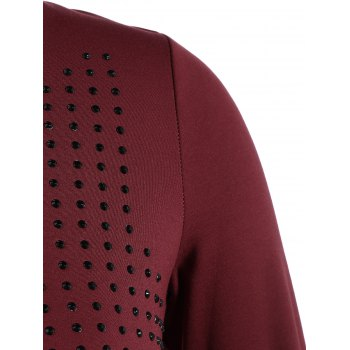 Plus Size Layered Beaded Blouse - WINE RED 3XL
