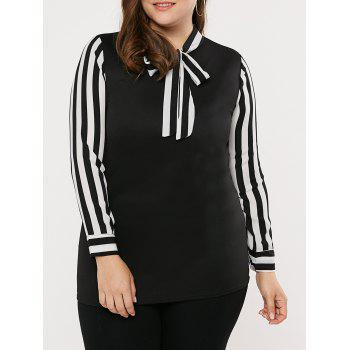 Plus Size Stripe Panel Pussy Bow Shirt