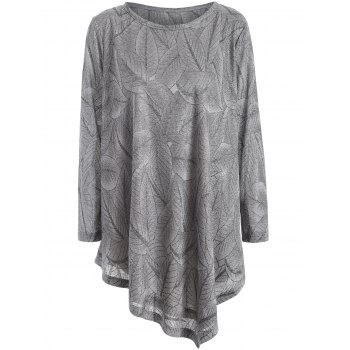 Plus Size Leaf Pattern Long Sleeve Asymmetric Tee