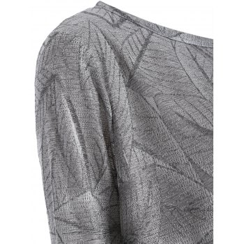 Plus Size Leaf Pattern Long Sleeve Asymmetric Tee - GRAY XL