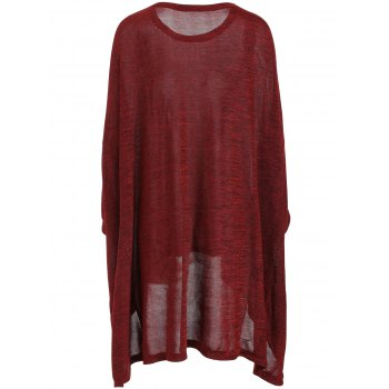 Plus Size Long Sleeve Tunic Tee - DEEP RED 2XL