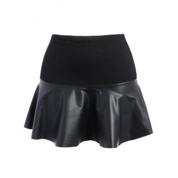 Plus Size Faux Leather Panel Skirt