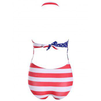 Halter Polka Dot Striped Backless Swimwear - RED XL