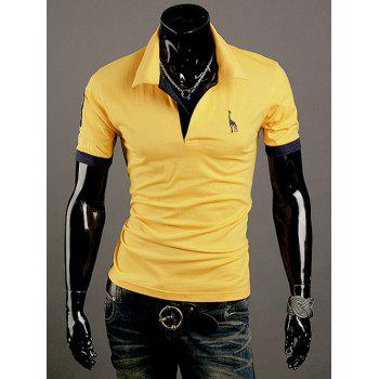 Giraffe Embroidered Turn-Down Collar Short Sleeve Men's Polo T-Shirt