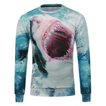 Buy Shark Printed Crew Neck Sweatshirt BLUE GREEN